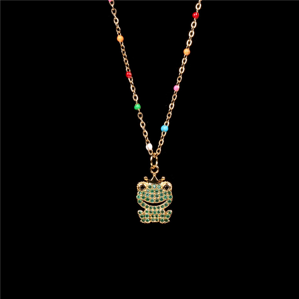 new creative diamond-studded frog pendant necklace simple and fresh stainless steel clavicle chain wholesale NHPY246390