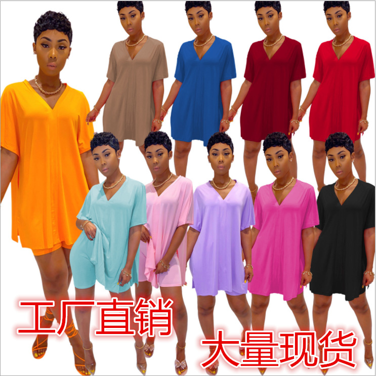 European And American Fashion Casual Solid Color V-Neck Bat Sleeve Split Top Shorts Two-Piece Suit