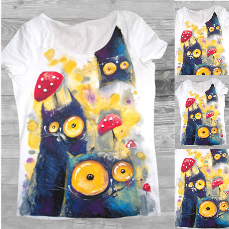 Spot 2020 summer new top Amazon hot selling fashion big eye cat T-shirt women in Europe and America