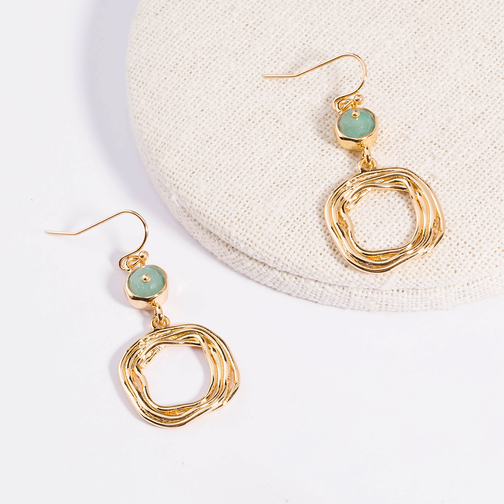 metal texture cut surface green agate flat beads square shaped geometric long earrings wholesale NHAN257863