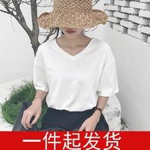 夏季新款女装韩版chic风宽松V领?#21487;?#30701;袖打底衫甜美百搭学生t恤女