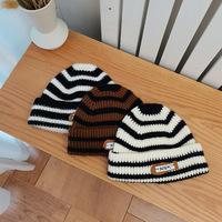 Шапка женская осенне-зимняя черно-белая полосатая шапка из дикой шерсти прилив теплая вязаная пара корейский вариант японской шапки
