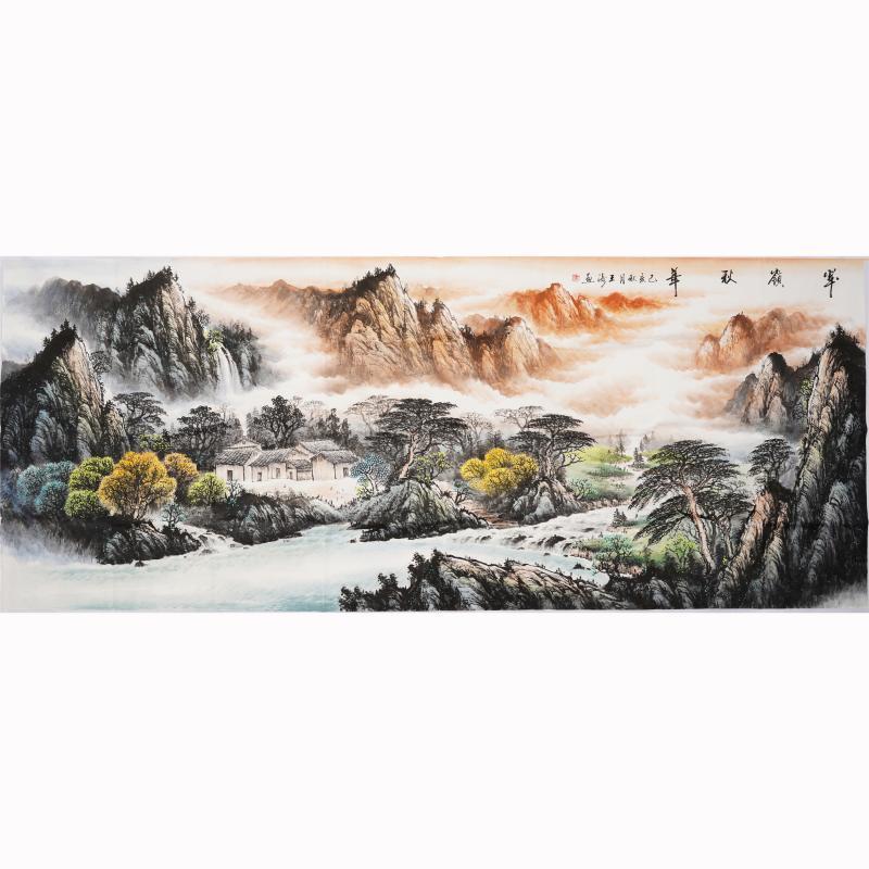 小八尺手绘国画山水画源远流长客厅办公室聚宝盆装饰画王涛00251