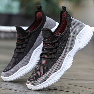Men's shoes 2021 casual shoes men's spring new flying woven shoes trend lace casual soft sole sports shoes men
