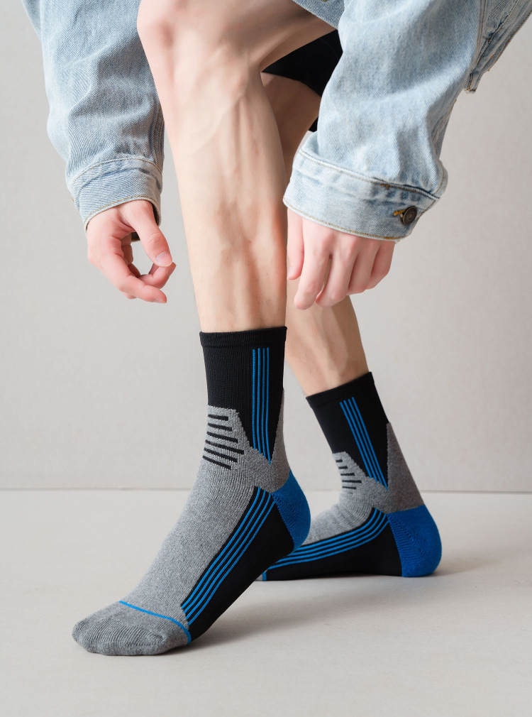 Stitching color breathable cotton men's socks NSFN9335