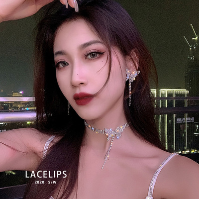 Licelips sexy King fried luxury flash Diamond Butterfly Necklace