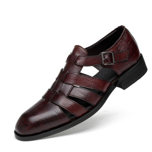 ស្បែកជើងបុរស Mean Casual Sandals Wedge Round Toe Hollow Buckle Shoes PZ426365
