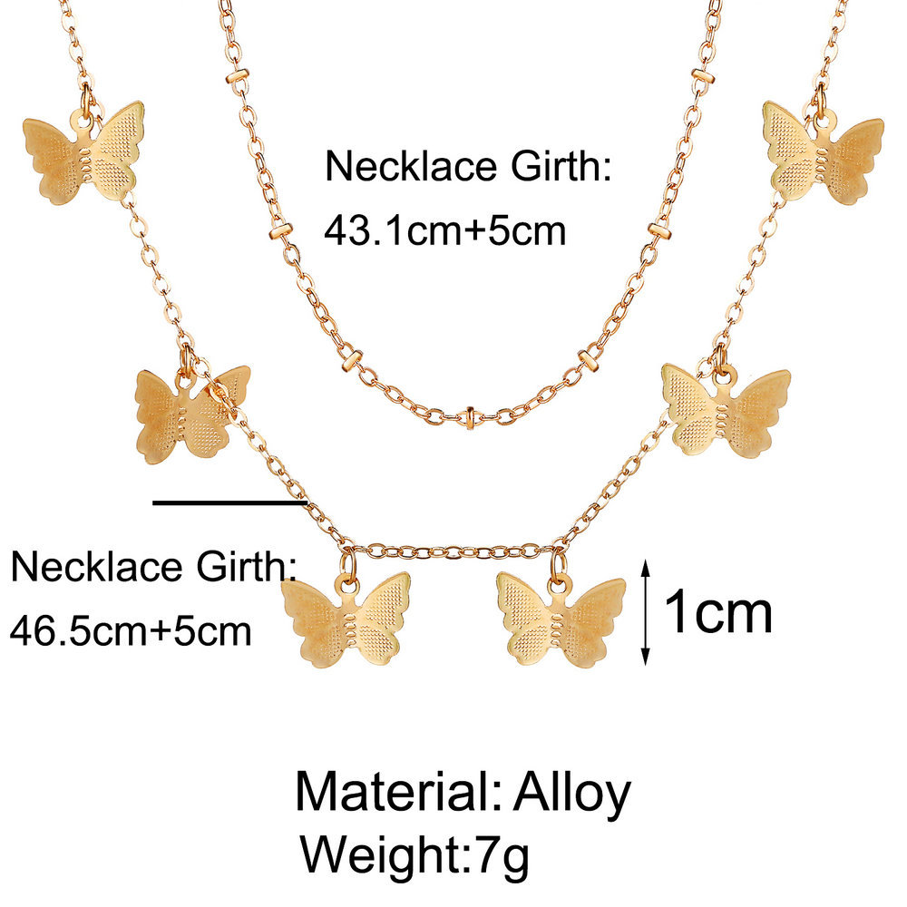 hot sale golden butterfly pendant necklace creative retro simple metal multilayer necklace wholesale nihaojewelry NHYI220228