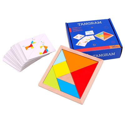 货源巧之木儿童智力拼图玩具早教益智卡片幼儿园教具拼板七巧板代发批发