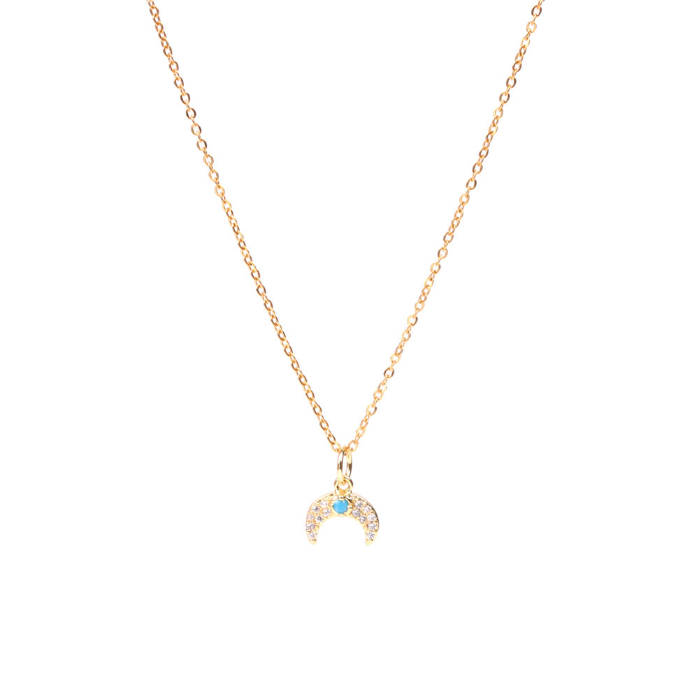 New retro blue diamond moon bud horns pendant clavicle chain female stainless steel necklace wholesale NHPY199749