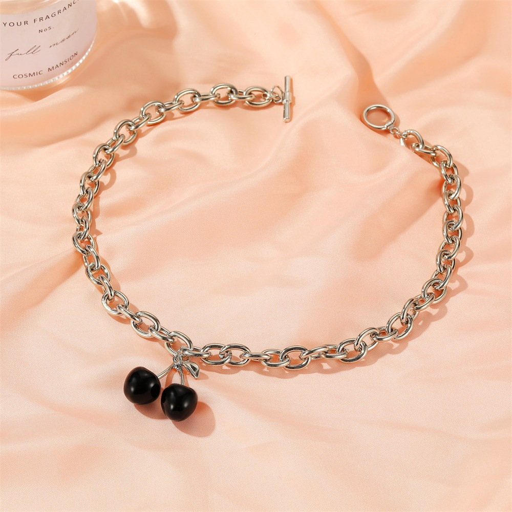 Korean black cherry fashion thick chain word buckle simple fruit alloy choker  NHDP246073