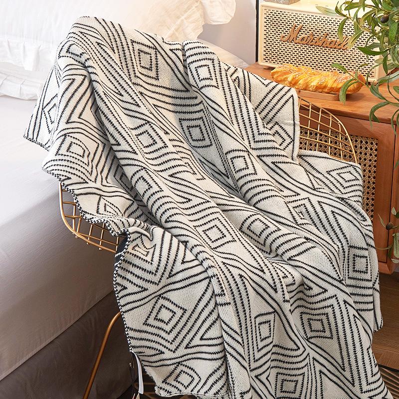 北欧ins风灰色针织休闲小毛毯子被子夏季薄款午睡沙发毯单人盖毯