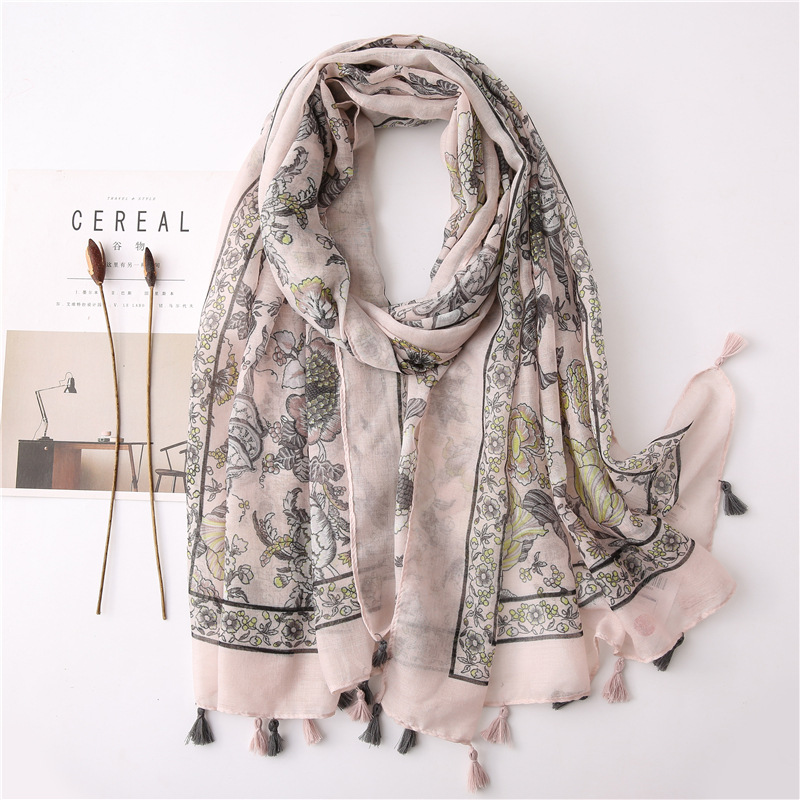 Retro sun shawl spring and summer models plain fabric cotton and linen print scarf seaside holiday scarf NHGD202400