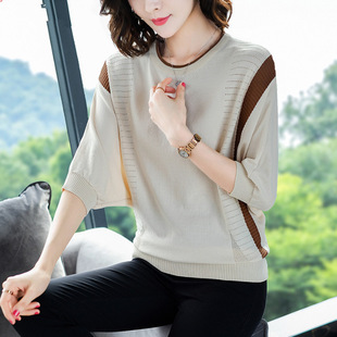 Ice silk knitted bottoming shirt women 2020 spring and summer Korean version of bat sleeve sweater loose thin hollow top