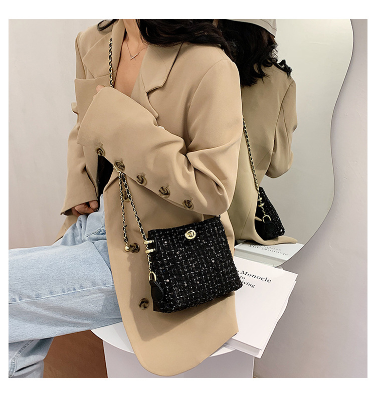 woolen bag autumn new fashion sequined one-shoulder chain western style messenger bucket bag wholesale NHLH249007
