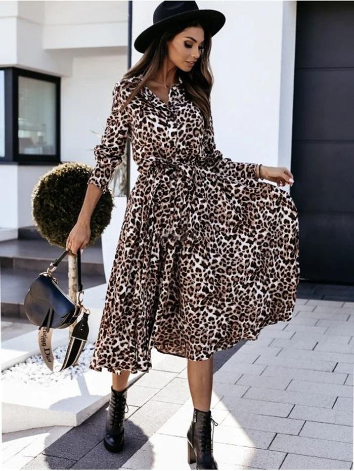 long-sleeved V-neck fashion print dress NSYF2155