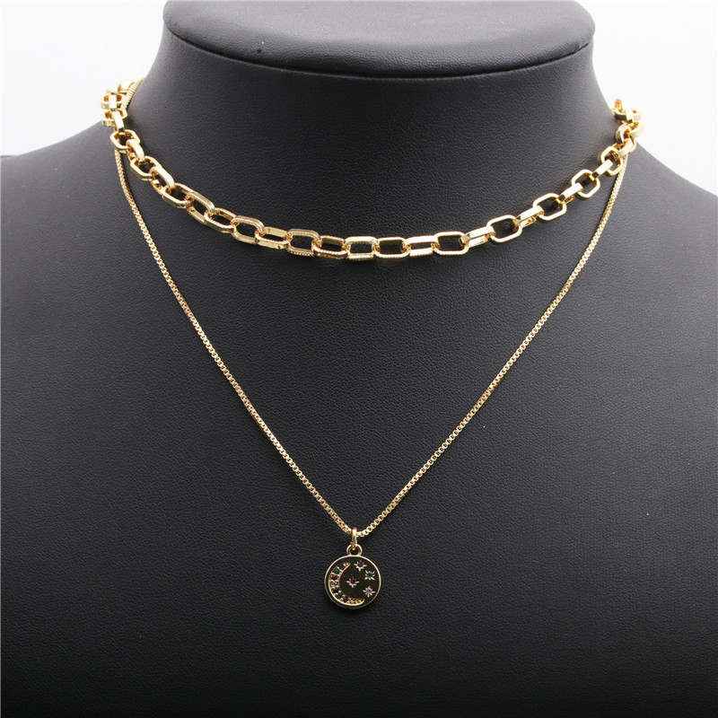 microinlaid zircon moon LOVE necklace NHYL298524