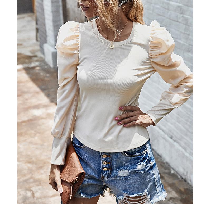 autumn and winter new long-sleeved retro puff sleeve T-shirt blouse wholesale NSKA217