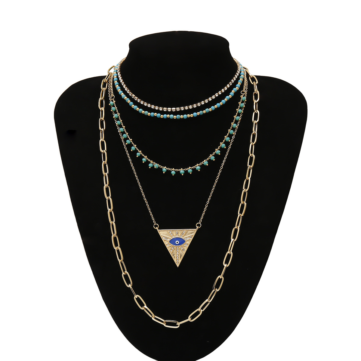 Bohemian retro necklace with diamond eyes ethnic style multi-layer suit necklace female NHXR207198