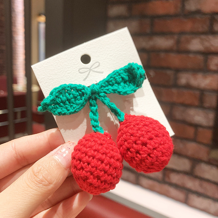 knitted cherry hairpin sweet duckbill clip hairpin wholesale nihaojewelry NHSA245688