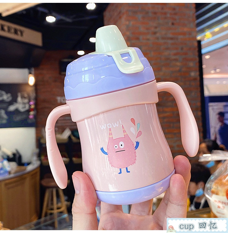Anti-choke 316 stainless steel Vacuum flask for six months baby with handle soaking milk cup duckbill cup straw Vacuum flask NHtn239926