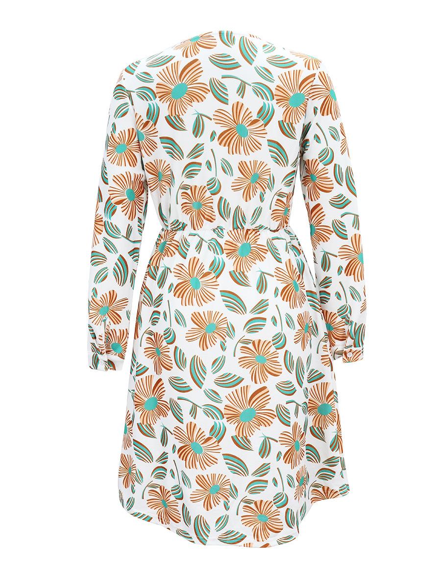 hot selling long-sleeved printed loose dress NSAL2870