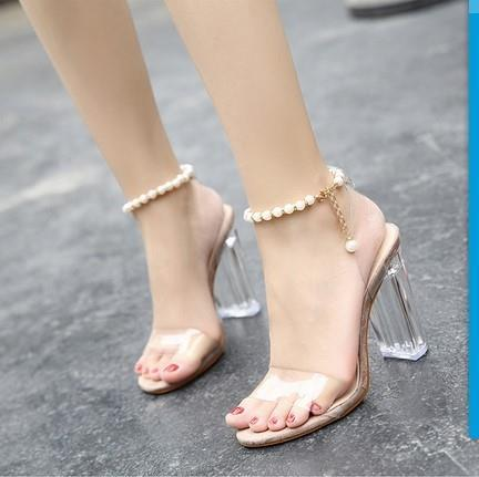 Girl High Heel Sandals Women Sexy Transparent Crystal Shoes