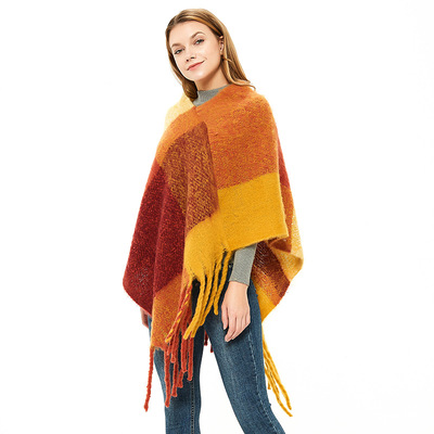 Ms. Ji shawl fringed loop yarn Plaid Cape