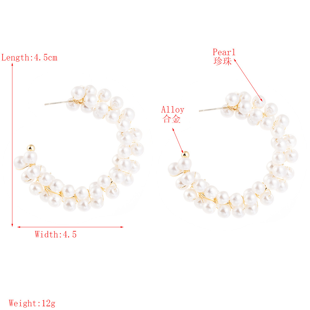 Fashion Exaggerated C-shaped Earrings 925 Silver Needle Hypoallergenic Pearl Hoop Earrings NHLN199451