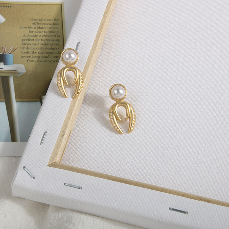 New jewelry pearl earrings geometric matte S925 silver pin earrings NHQS205260