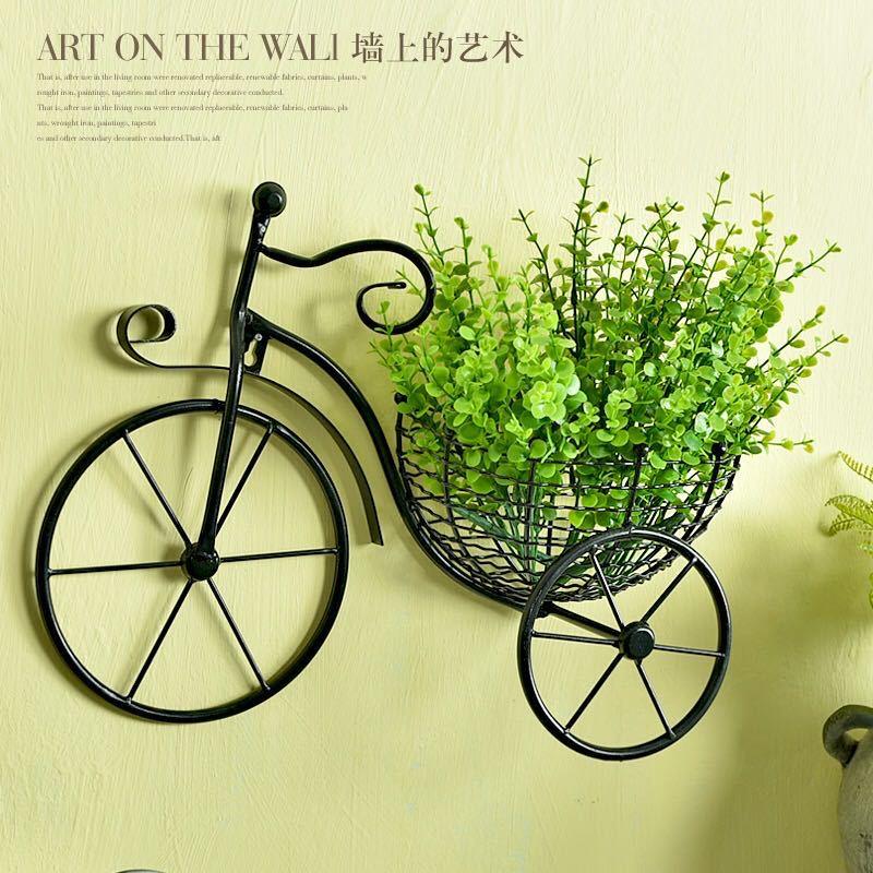 创意自行车欧式铁艺壁饰壁挂花架花篮客厅阳台墙上悬挂花篮装饰品