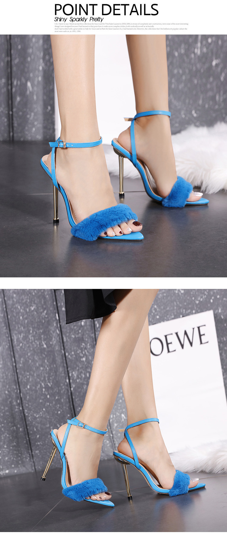 metal high-heeled fur pointed toe sandals NHCA284255