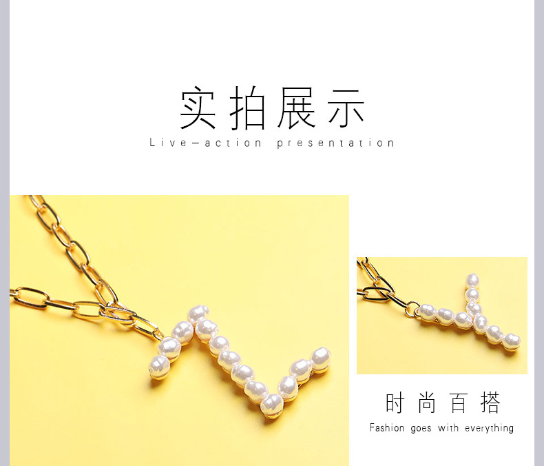 Fashion English letters pearl alloy necklace wholesale NHYAO344048