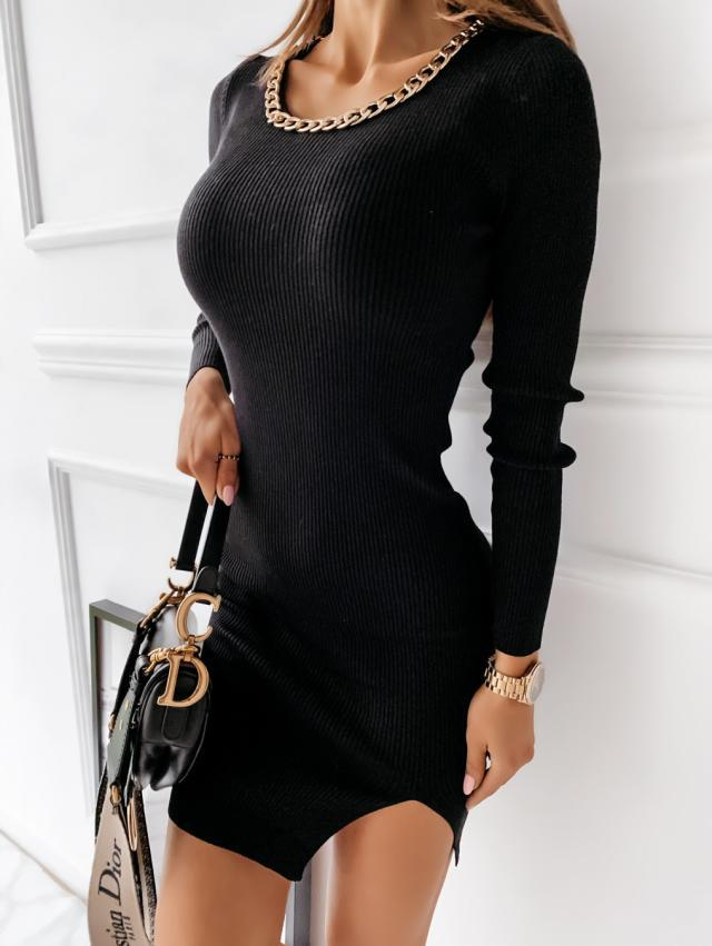 autumn and winter simple round neck decoration dress NSYD6949
