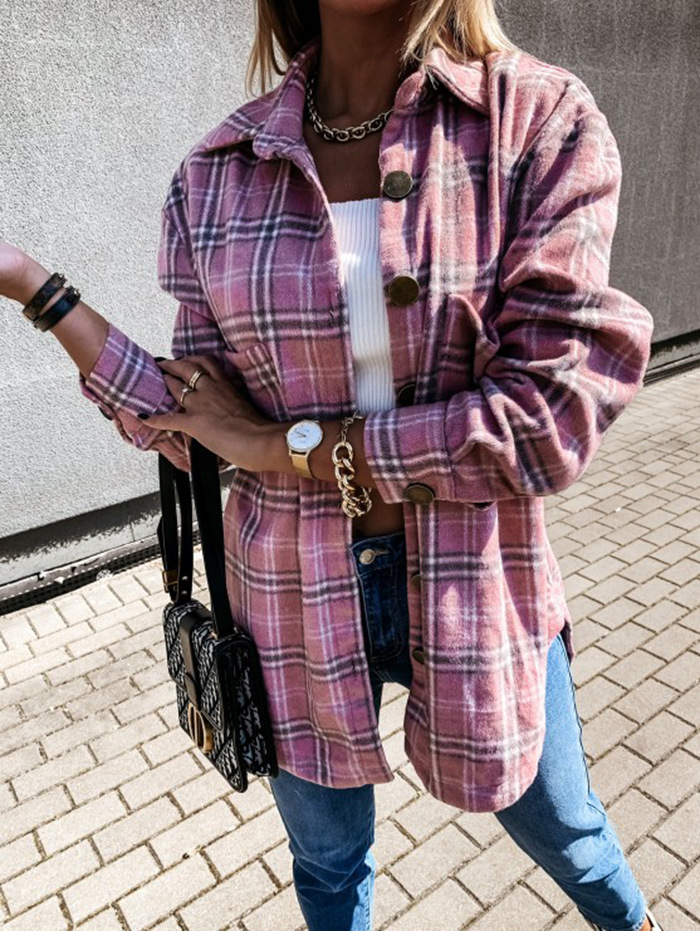 hot sale autumn and winter loose casual retro plaid long-sleeved shirt jacket NSYD3725
