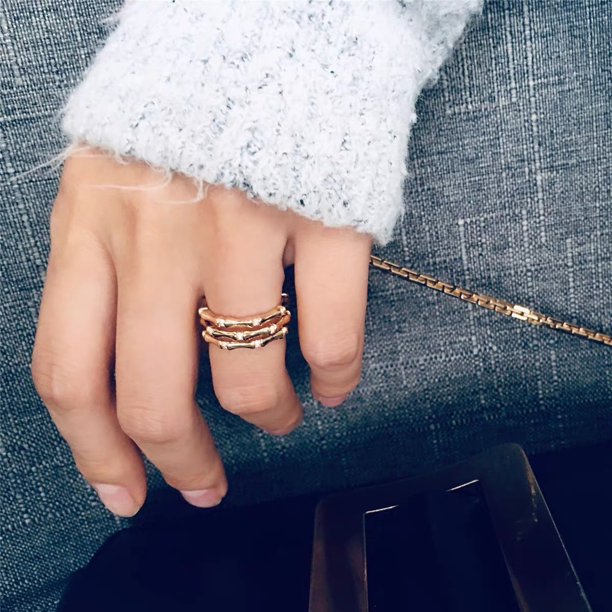 retro gold wide version bamboo ring  NHYQ280141