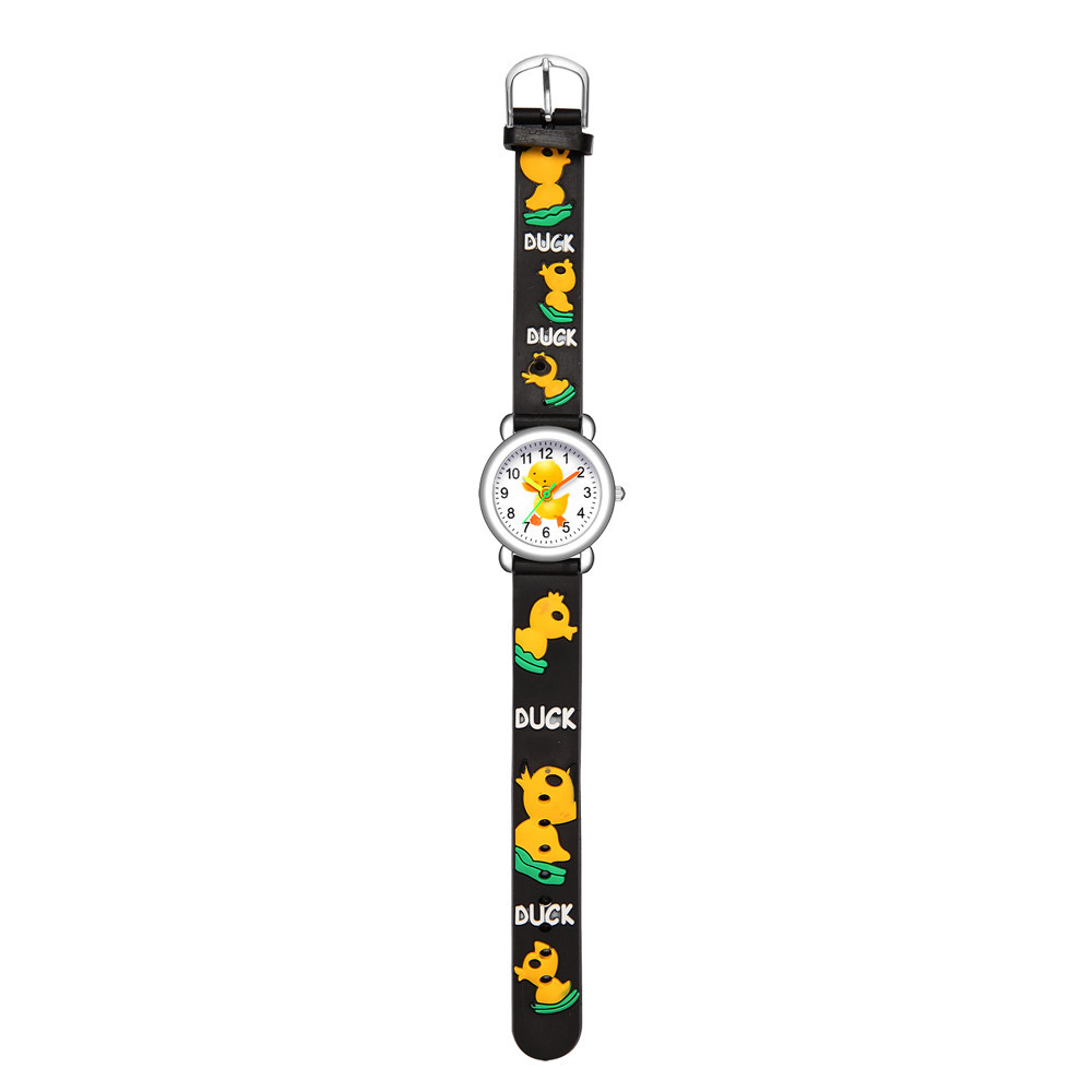 Children's cartoon watch embossed little yellow duck plastic band student watch NHSS200497