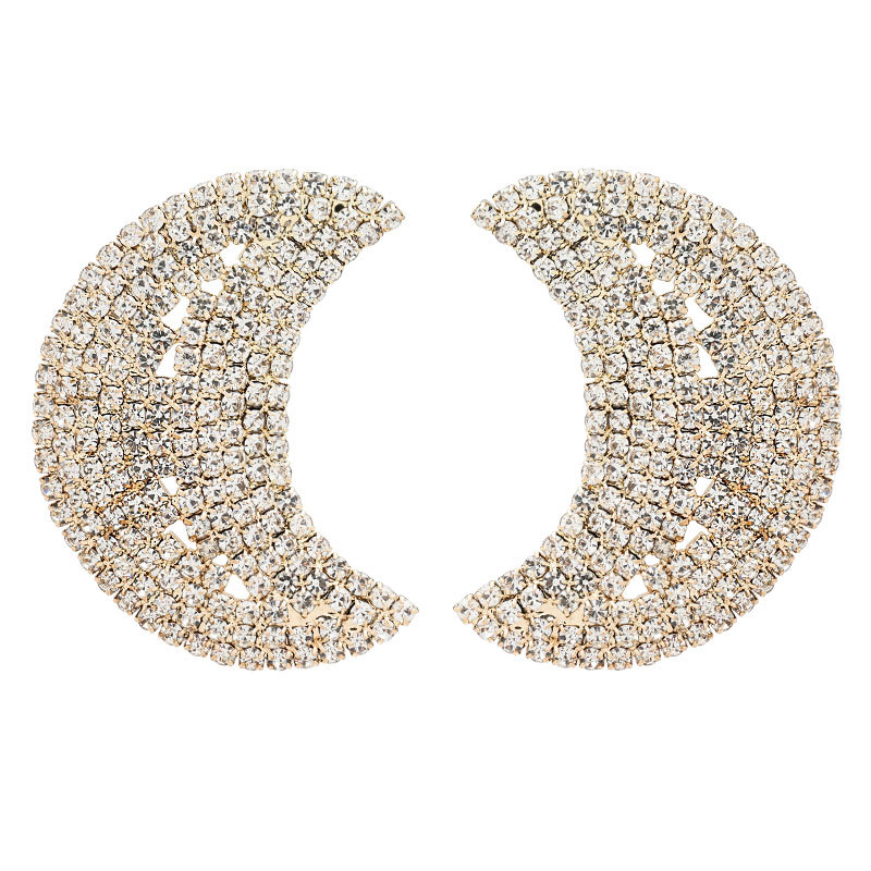 Fashion convex alloy diamond rhinestone full moon temperament earrings NHJE199086