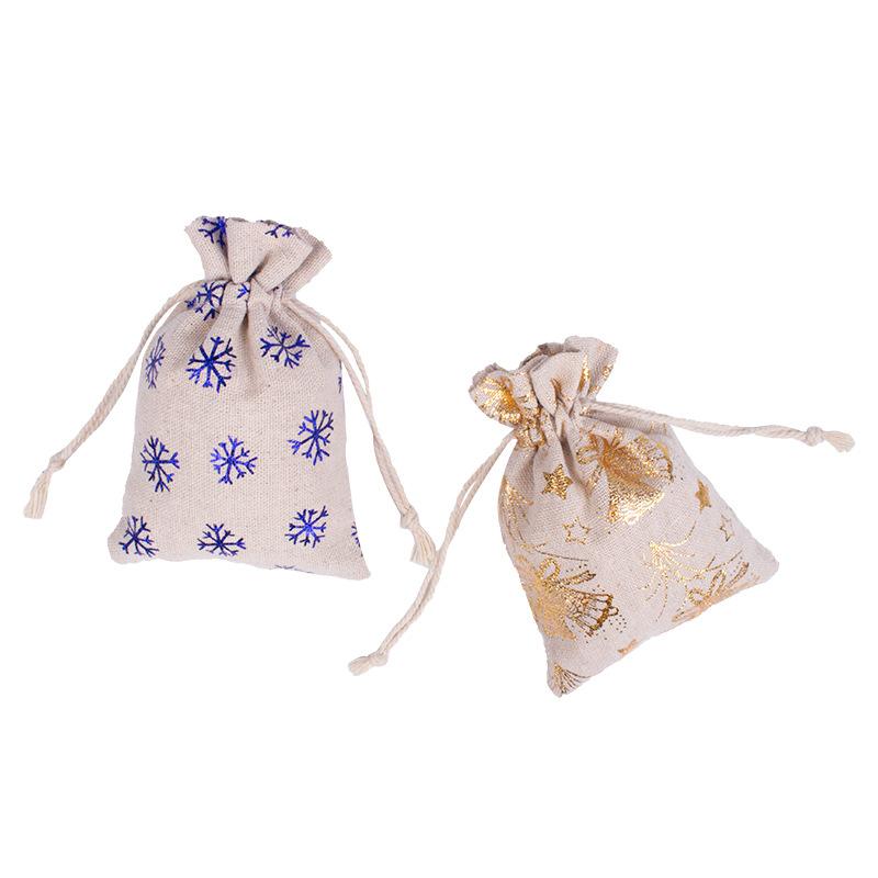 Spot 10*14 Christmas bronzing cotton linen bag Christmas Eve gift packaging bag Drawstring drawstring bag