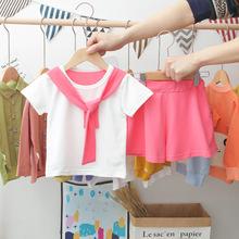 2020夏季T恤可愛女童寶寶卡通貓咪豹紋耳朵飄帶短袖裙褲套裝批發