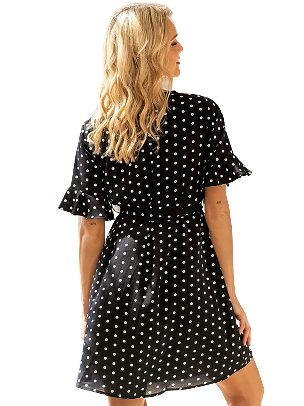 fashion chiffon dress short-sleeved waist slimming casual sweet polka-dot skirt NSDF1559