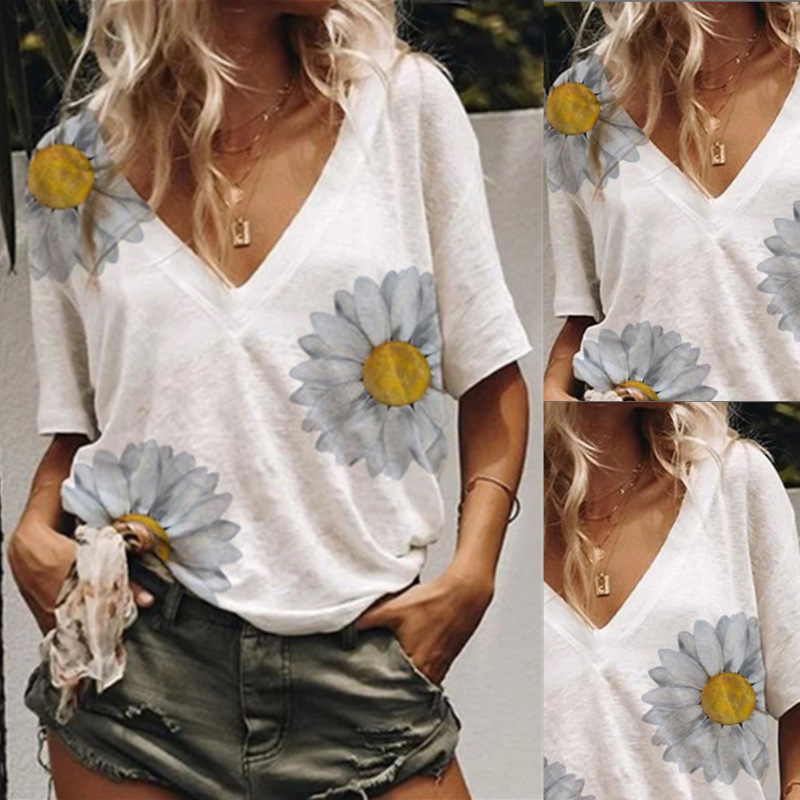 Spot 2020 new summer women's clothing Amazon hot selling large sunflower printed T-Shirt Top in Europe and America