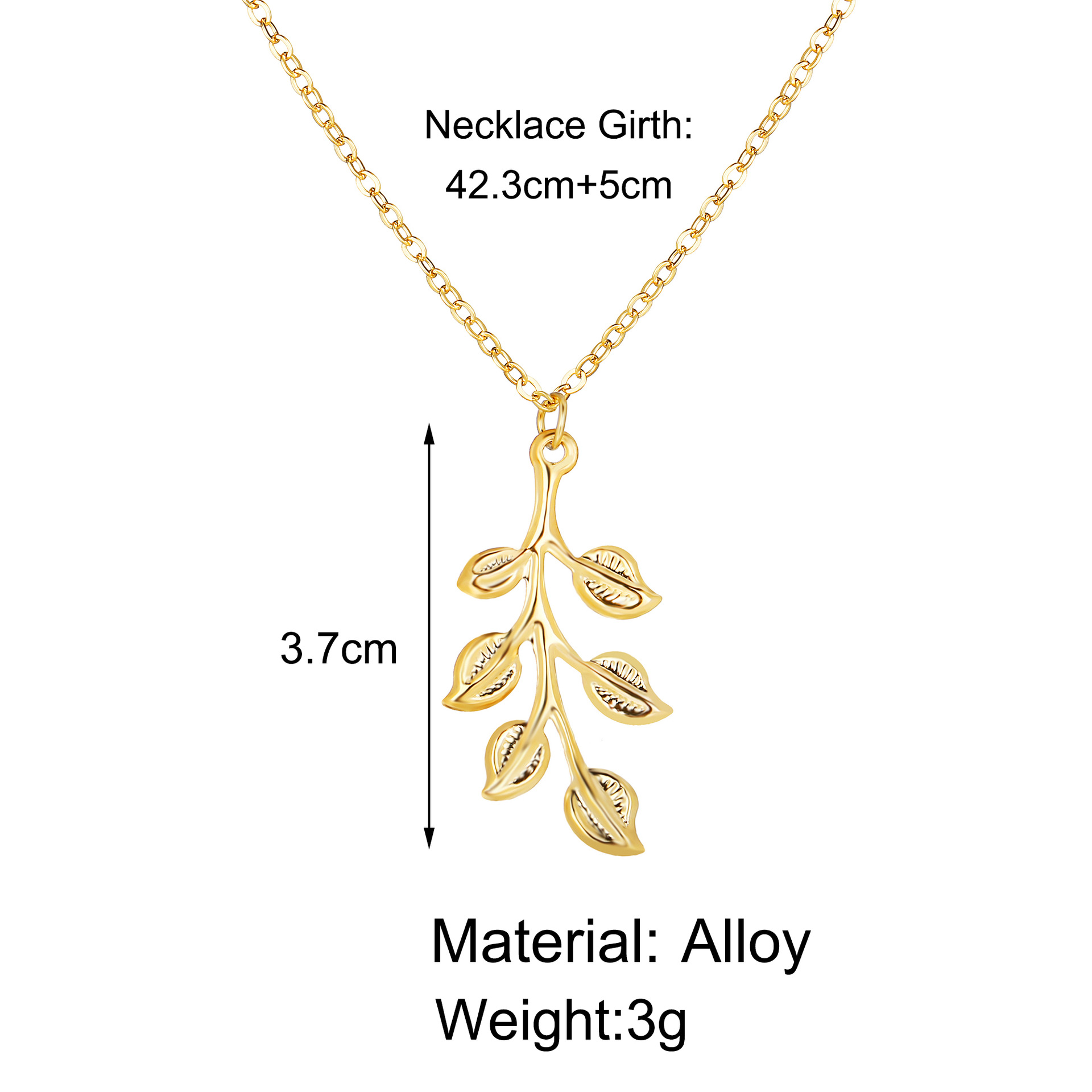 hot sale gold leaf pendant long necklace creative simple jewelry wholesale nihaojewelry NHYI220237