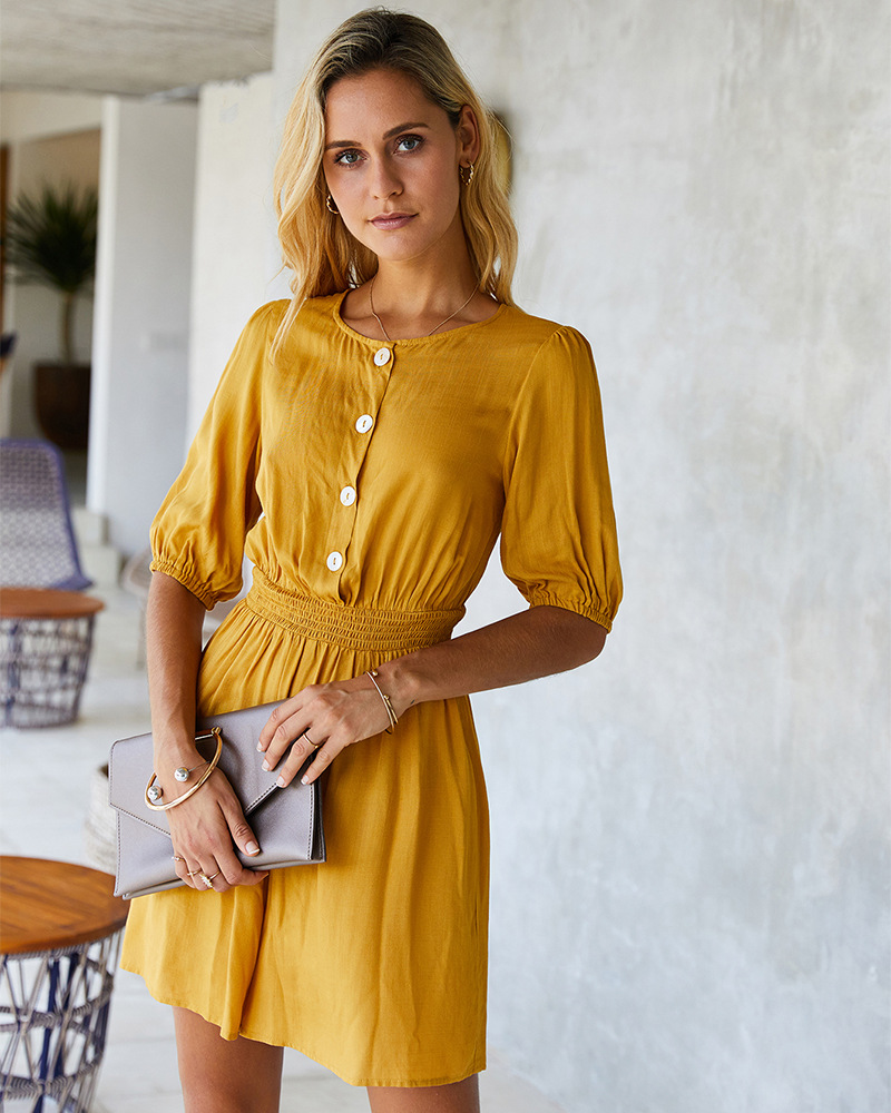 fashion solid color jumpsuit spring and summer five-point sleeve elastic waist casual pants  NSKA1054