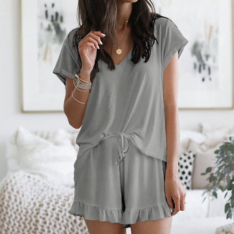 summer women's new home service two-piece Amazon V-neck solid color casual suit NSKX6235