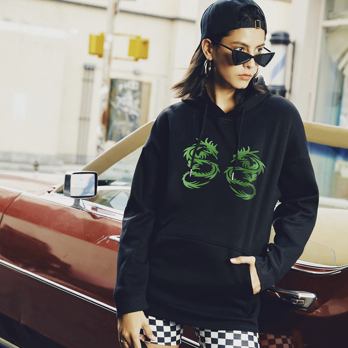 autumn and winter women's creative Ssangyong street casual hooded sweater NSSN1869