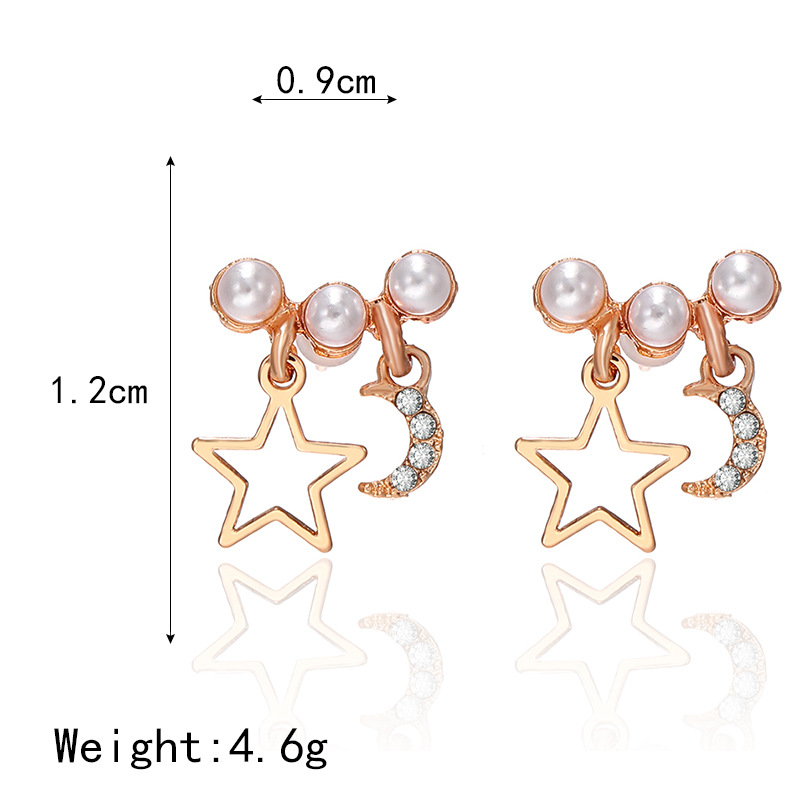 Jewellery for women Pentagram Moon Pearl Earrings wholesales fashion yiwu suppliers china NHPF203012