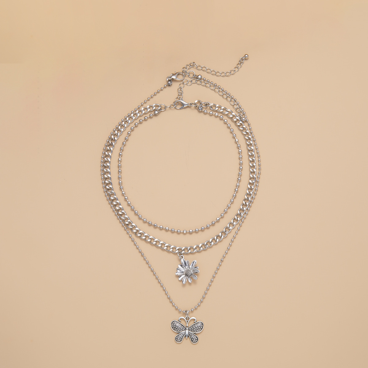 fashion jewelry creative butterfly necklace female simple three-dimensional small daisy multi-layer necklace wholesale nihaojewelry NHXR224618