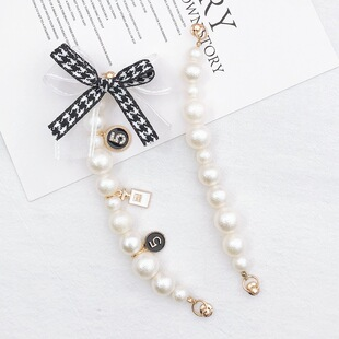 Yilian new diy frosted pearl bowknot bracelet screw buckle tide female mobile phone shell anti-fall hanging chain pearl chain