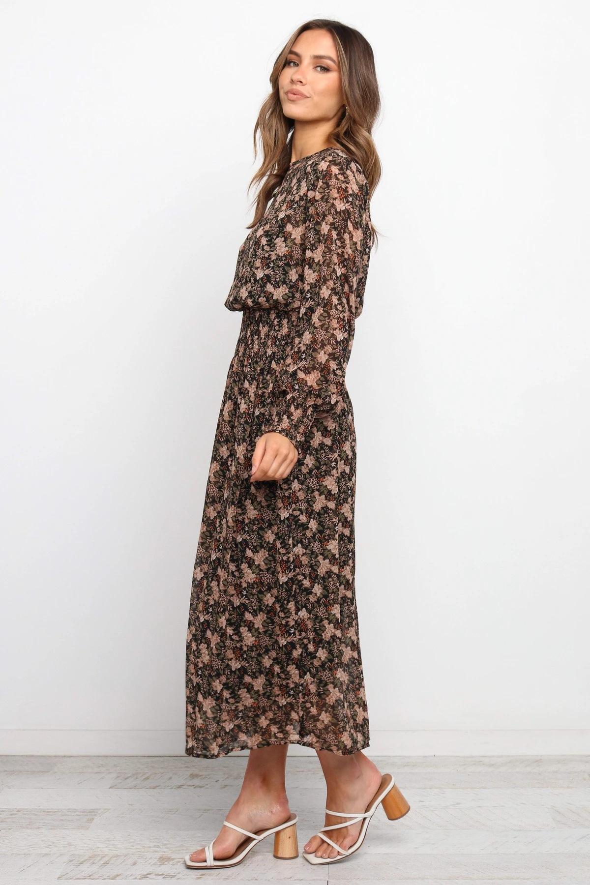 New Long Sleeve Printed Chiffon Dress Slim Fit Long Dress NSYD3810